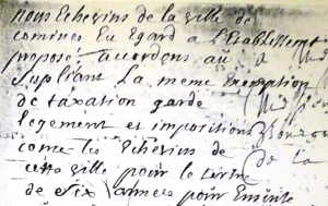 Détail de l'apostille favorable du Magistrat de Comines (1719).