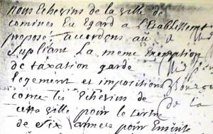Détail de l'apostille favorable du Magistrat de Comines (1719).