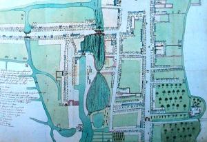 Les quartiers du Fort et du centre de Comines en 1786.