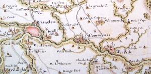 """La région de Comines en 1744, extrait de """"Théâtre de la guerre en Flandre (...)""""."""