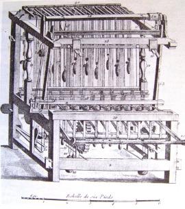 Métier à barre, planche extraite de l'encyclopédie de Pancoucke (ca. 1786).